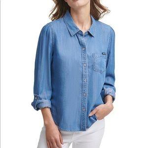 DKNY button down denim blouse